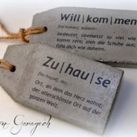 Betonetiketten Willkommen / Zuhause